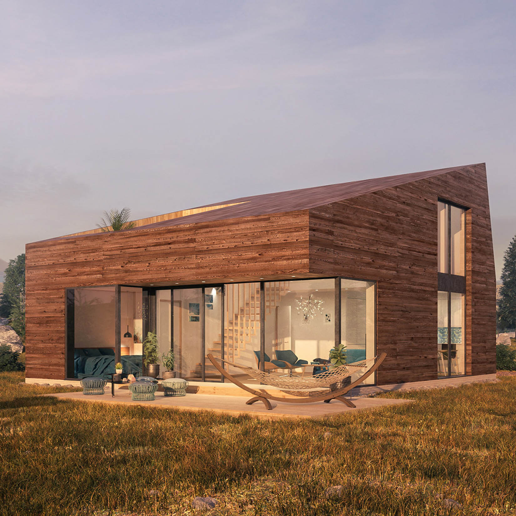 Exterior visualization of a readymade mountain cabin