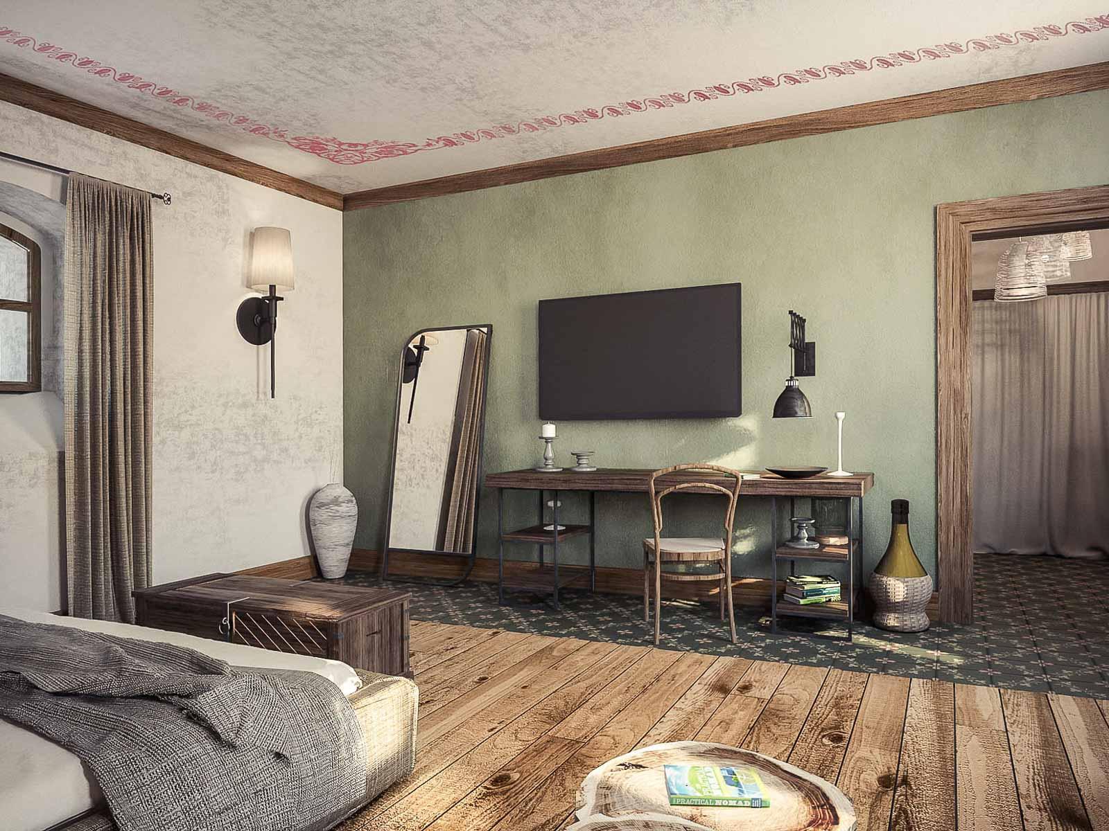 Rustic hotel interior